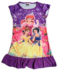 Snow White Belle Ariel Girls Children Kids Pyjama Nightwear Dress 3-10 Yr Purple