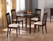 Mission Style Dining Table 4 Chairs Microfiber Seat Dark Oak Casual Gift