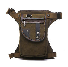 Men Canvas Travel Hiking Riding Motorcycle Fanny Pack Waist Leg Thigh Drop Bag