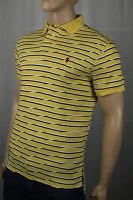 Ralph Lauren Yellow White Navy Cotton Interlock Polo Shirt Custom Fit NWT