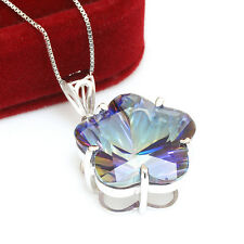 Jewelrypalace 14ct Fire Blue Rainbow Topaz Pendant  Necklace 925 Sterling Silver
