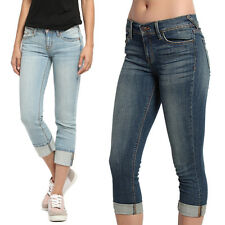 TheMogan Washed Mid Rise Skinny Crop Jeans Cropped Roll Up Cuffed Denim Capris