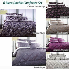 6 Pce Jacquard DOUBLE Comforter + 2 P/cases + 2 Eurocases + Cushion
