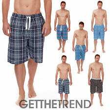 Mens Cargo Bay Flannel Lounge Shorts Mens 100% Cotton Check Sleep Shorts Pants