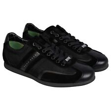 Hugo Boss Mens Stiven Black  Suede & Nylon Lace Up Sneakers Shoes
