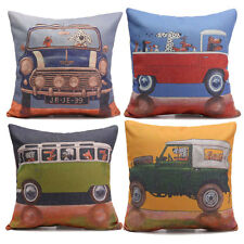 Dogs Pictorial Cushion Cover Car Seat Linen Blend Throw Pillow Case Home Decor