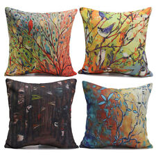 Colorful Birds Tree Home Decorative Bed Pillow Case Linen Blend Cushion Covers