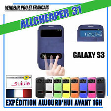 HOUSSE COQUE SAMSUNG GALAXY S3 Rabat Fenetre COVER Flip S-VIEW +Film Protection
