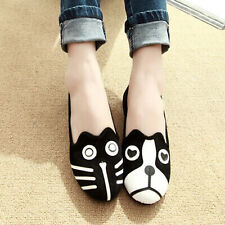NEW SALES PRICES CAT DOG CARTOON LOAFERS LADIES SHOES OFFICE FLATS UK SIZES 3-8