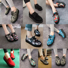 New Fashion Women Ladies Punk Flat Creepers Platform Wedge Goth Shoes Lace Up