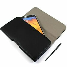 For Kyocera Black Faux Leather Horizontal Pouch Belt Clip Wallet FREE Stylus Pen