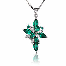 JewelryPalace Nano Russian Emerald Pendant Necklace 925 Sterling Silver HOT