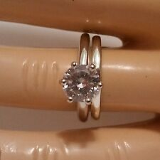 Sterling Silver wedding set CZ Round cut  Engagement Ring size 7 Bridal New w87