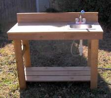 NEW 5 FT CEDAR POTTING BENCH GARDENING BENCHES WITH SINK PLANTING STATION