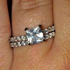 Sterling Silver Wedding set size 5 CZ Princess cut Engagement Ring Bridal New