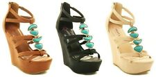 Open toe Strappy Wedge Platform Heel with Turquoise Black Camel Nude Jacky