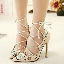 Black Camel Red Pointy toe Pump High Heel Lace up Shoe Crochet design