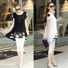 Chic Women Chiffon Blouse Embroidery Crew Neck Short Sleeve Loose Fit Casual Top