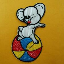 1 Rat Mouse Ball Rainbow Iron on Sew Patch Applique Badge Embroidered Biker Cute
