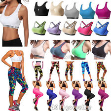 Femmes Sports Soutien-gorge rembourré Racerback Gym Yoga Jogging Capri Leggings
