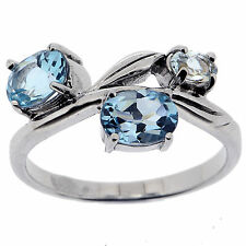 .925 Sterling Silver 1.25 Ct Natural Blue Topaz Ring