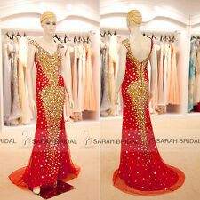 Luxury Square Neck Backless Mermaid Formal Party Prom Dresses Evening Ball Gowns