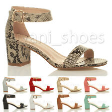 WOMENS LADIES LOW MID HEEL PEEP TOE BUCKLE ANKLE STRAP PARTY STRAPPY SANDAL SIZE