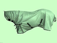 """New Horse fly rug combo attached neck cover metal Green 5'6""""- 7'0"""" FREE FLY MASK"""