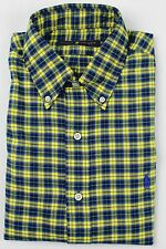 Polo Ralph Lauren Yellow Blue Plaid Button Down Classic Fit Dress Shirt NWT