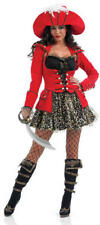 Glitzy Red Pirate Ladies Fancy Dress Costume Outfit + Hat Sizes UK 6-22 - NEW