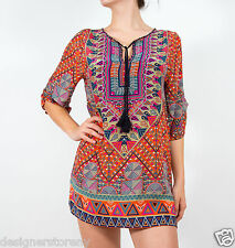 Tolani Stacey Silk Printed Long Tunic Mini Dress in Orange 2074
