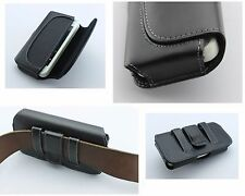 Horizontal Black Leather Pouch Holster Fits with Slim Skin Silicone Case on it