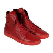 Android Homme Propulsion 1.8 Mens Red Leather High Top Sneakers Shoes