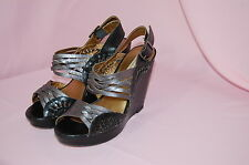 CYNTHIA VINCENT Jaden Leather Braided Wedge Slingback Sandals Shoes~Size 7