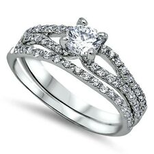 Sterling Silver Wedding set size 9 CZ Round cut Engagement Ring Bridal New z10
