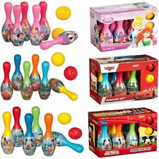 DISNEY KIDS 6 PIN BOWLING SET PLASTIC SKITTLES GAME GARDEN INDOOR OUTDOOR TOY