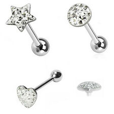 Pave CZ Crystal Star, Heart or Round Tongue Bar Piercing Surgical Steel 16mm