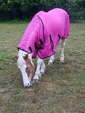 """Horse/Cob/Pony fly rug combo attached neck cover Pink 5'0""""- 6'9"""" limited stock"""