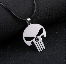NEW Skull punisher stainless steel leather cord pendant necklace