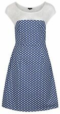 MyMust Sophisticated White And Blue Polka Dot Dress With Lace Shoulder Detail