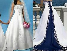 Strapless Sleeveless White And Blue Wedding Dresses A Line Satin Arabian Bandage