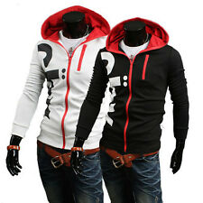 Stylish Mens Slim Fit Top Casual Hoodie Tracksuit Jacket Sweatshirt Coat Outwear