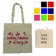 Personalised NAME, AGE, Shopping Bag, Cotton Bag, Choose TEXT COLOUR