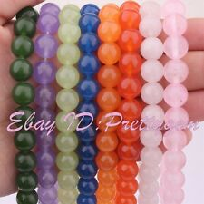 """10mm Round Smooth Jade Gemstone Spacer For Jewelry Making Beads 15"""" Pick Color"""