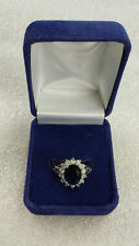 Elegant Royal Deluxe Blue Princess Sapphire Engagement Ring Size 9 in Gift Box