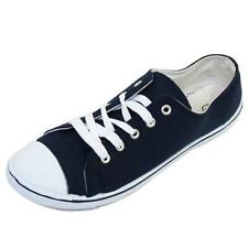 MENS NAVY CANVAS FLAT TRAINER PLIMSOLL PUMPS LACE-UP CASUAL SHOES SIZE 6-11