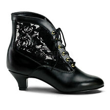 """2"""" Black Lace Victorian Ankle Steampunk Low Granny Boots Shoes size 7 8 9 10 11"""