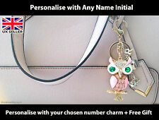 Personalised OWL Keyring / Dangler Christmas Stocking Key Ring Bag Charm Gift