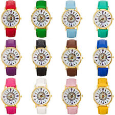 Women Vintage Wrist Watches Girl Feather Dial Leather Band Quartz Analog Watches