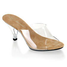 "3"" Inch Clear Tan Low Kitten Heels Glass Slippers Bridal Bridesmaid Shoes 7 8 9"